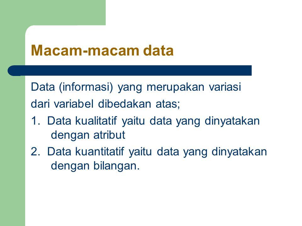 Macam-macam data Data (informasi) yang merupakan variasi dari variabel dibedakan atas; 1.