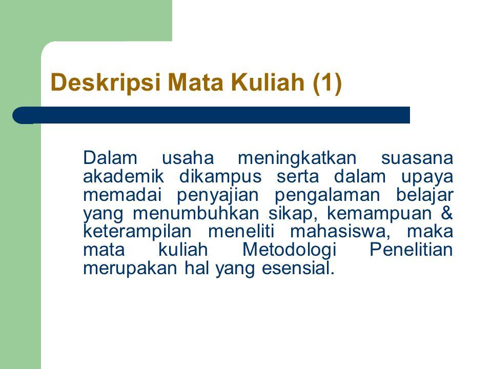 Langkah-langkah mengadakan penelitian (1) 1.Memilih masalah 2.Studi pendahuluan 3.Merumuskan masalah 4.Merumuskan kerangka dasar 5.Merumuskan hipotesis