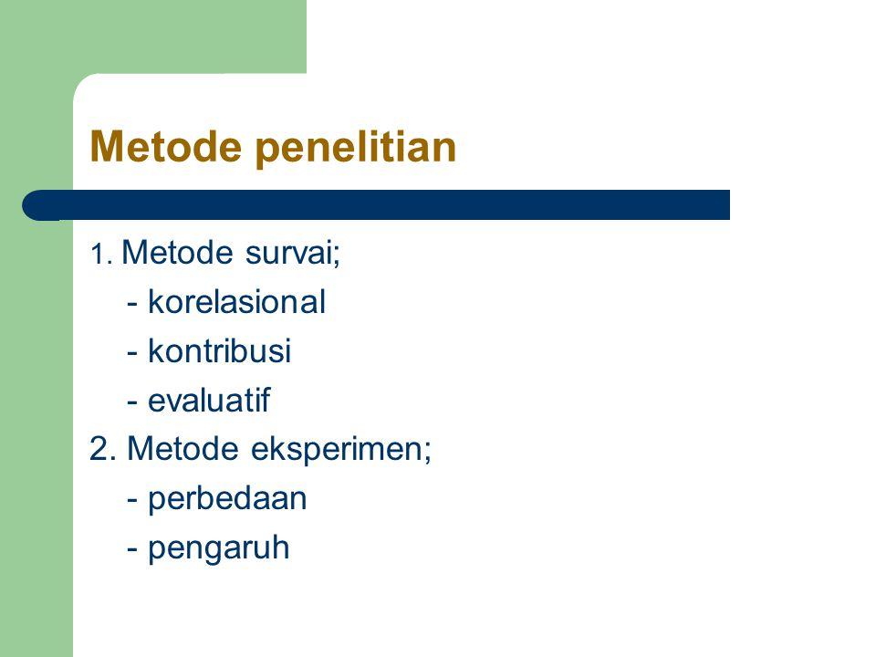 Metode penelitian 1.Metode survai; - korelasional - kontribusi - evaluatif 2.