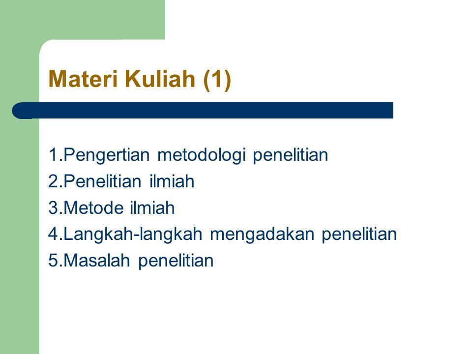 Materi Kuliah (1) 1.Pengertian metodologi penelitian 2.Penelitian ilmiah 3.Metode ilmiah 4.Langkah-langkah mengadakan penelitian 5.Masalah penelitian