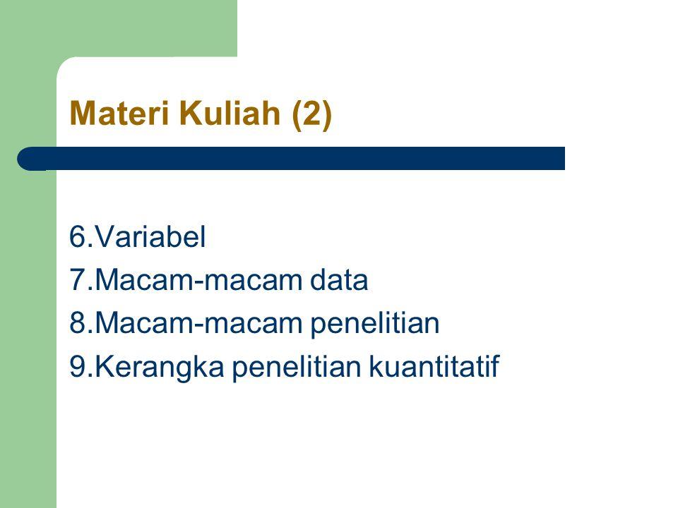 Materi Kuliah (2) 6.Variabel 7.Macam-macam data 8.Macam-macam penelitian 9.Kerangka penelitian kuantitatif