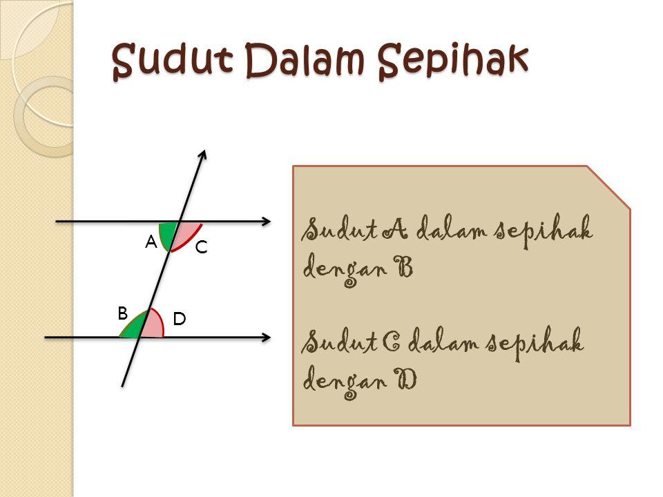 s p q r SUDUT -SUDUT DALAM BERSEBRANGAN p bersebrangan dengan s q bersebrangan dengan r Jika dua buah garis sejajar dipotong oleh garis lain maka besa