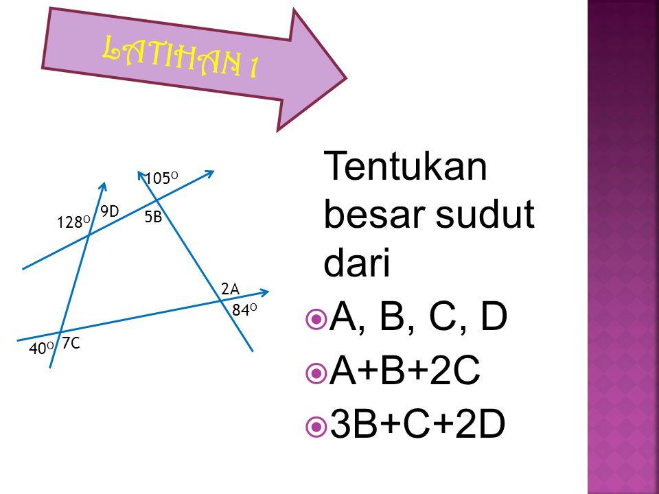 120 o 65 o Y X Sudut X berpelurus dengan sudut 65 o Sehingga besar sudut X= 180 o – 65 o =115 o Sudut Y bertolak belakang dengan sudut 120 o Sehingga