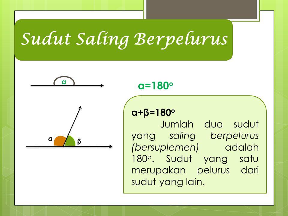 α α β Sudut Saling Berpelurus α=180 o α+β=180 o Jumlah dua sudut yang saling berpelurus (bersuplemen) adalah 180 o.