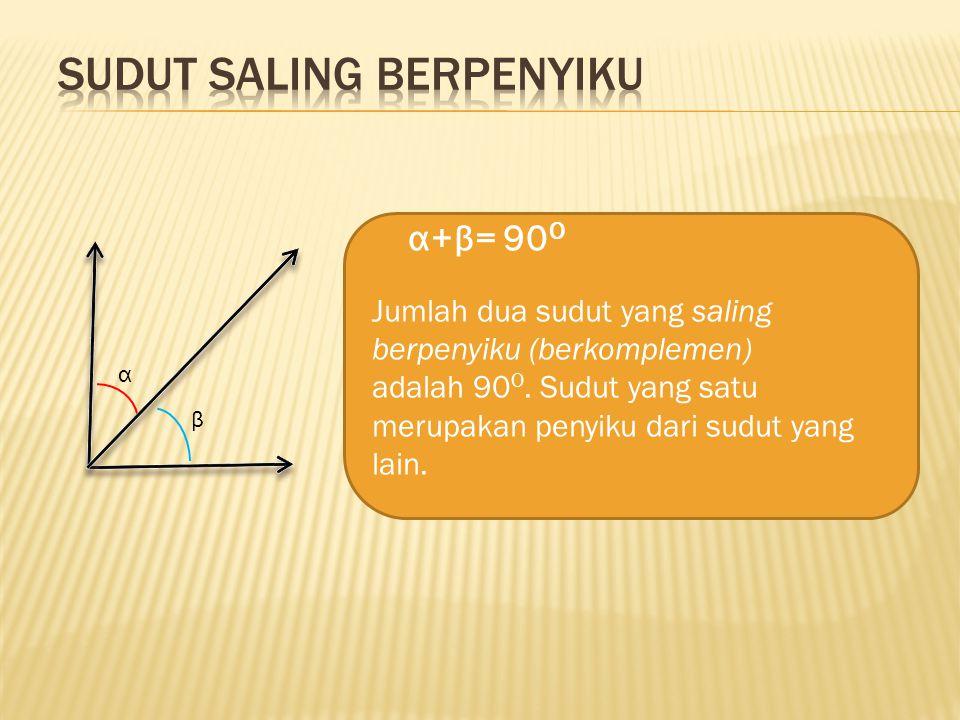 α α β Sudut Saling Berpelurus α=180 o α+β=180 o Jumlah dua sudut yang saling berpelurus (bersuplemen) adalah 180 o. Sudut yang satu merupakan pelurus
