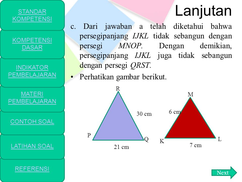 lanjutan b.Perhatikan persegi MNOP dan persegi QRST.