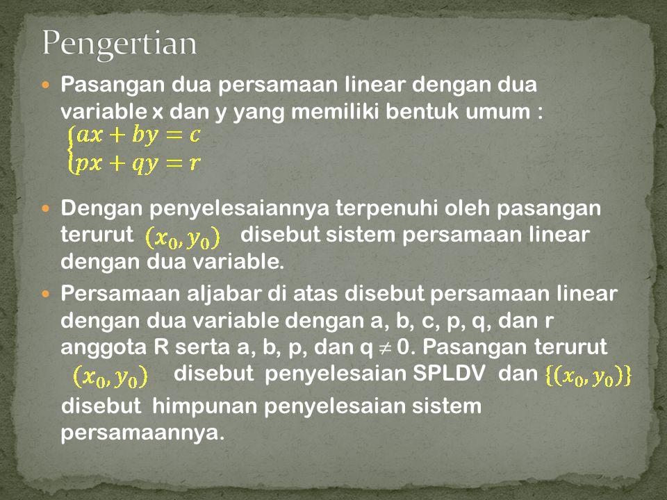 Pasangan dua persamaan linear dengan dua variable x dan y yang memiliki bentuk umum : Dengan penyelesaiannya terpenuhi oleh pasangan terurut disebut s