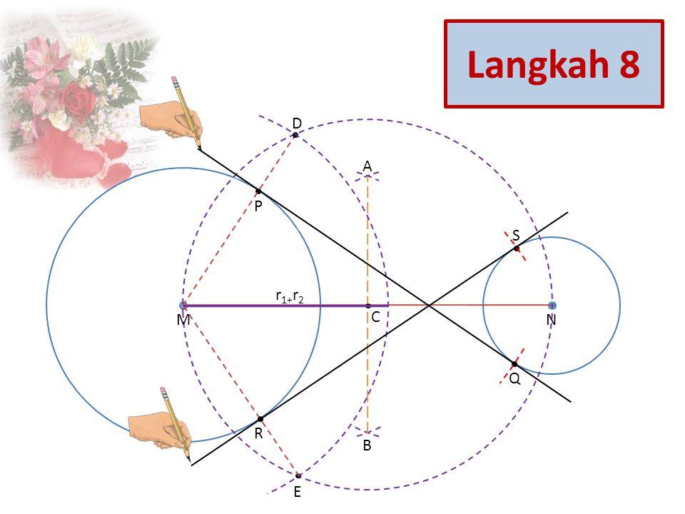 S Q R D E P C B A NM r 1+ r 2 Langkah 8