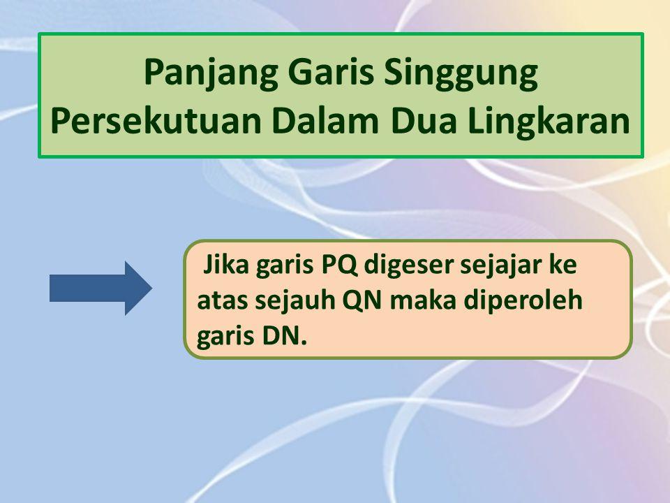 Panjang Garis Singgung Persekutuan Dalam Dua Lingkaran Jika garis PQ digeser sejajar ke atas sejauh QN maka diperoleh garis DN.