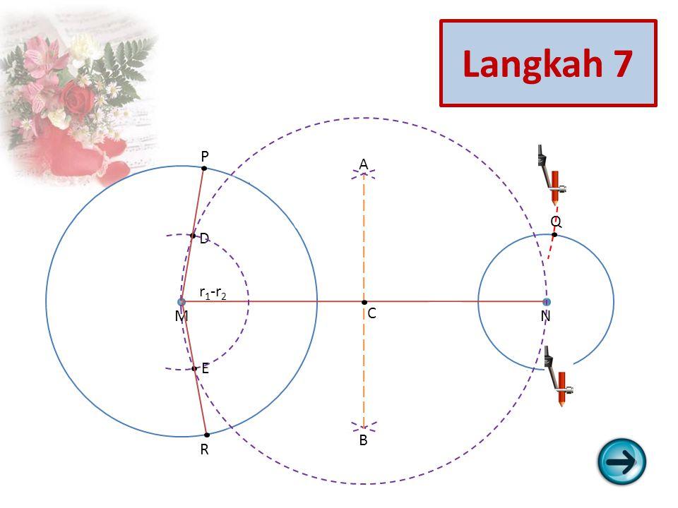 Q S R P E D C B A NM r 1 -r 2 Langkah 7