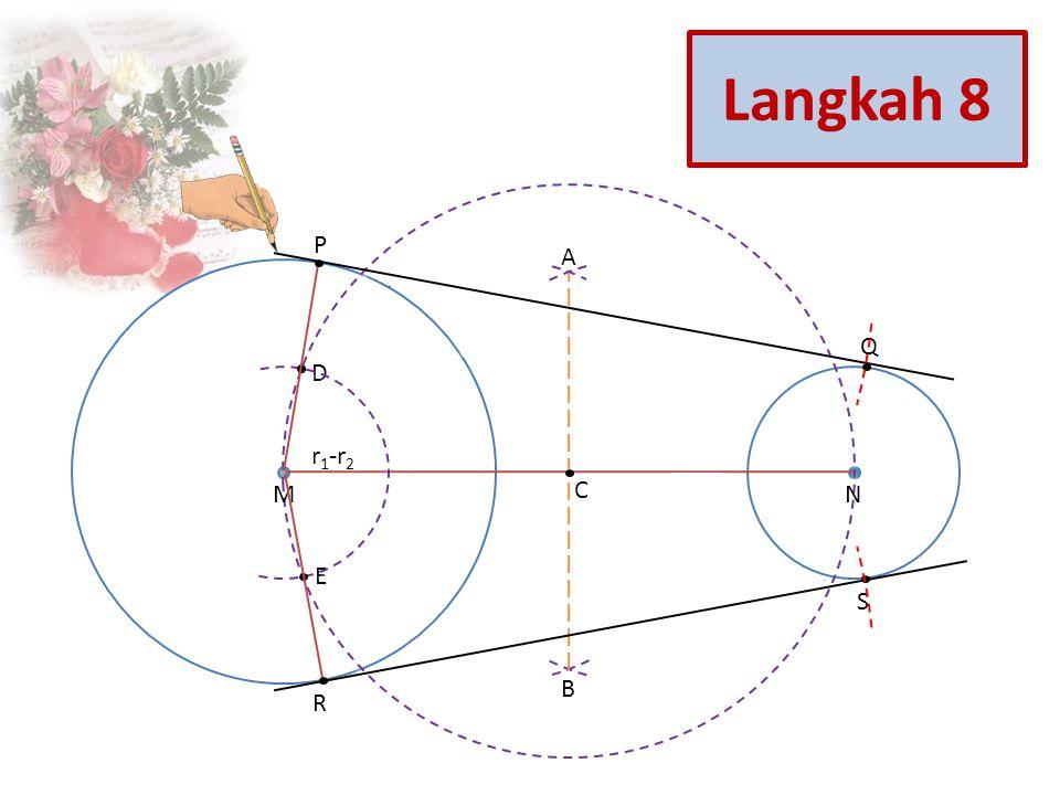 Q S R P E D C B A NM r 1 -r 2 Langkah 8