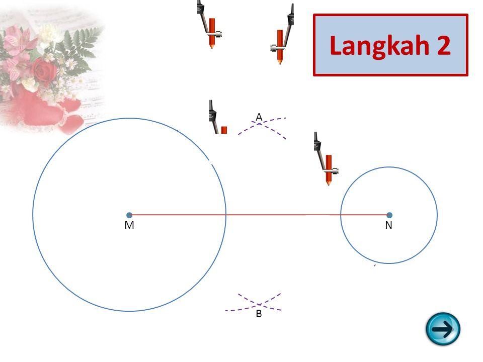 1.Lukis lingkaran L1 berpusat di titik M dengan jari-jari r1 dan lingkaran L2 berpusat di titik N dengan jari-jari r2 (r1 > r2).