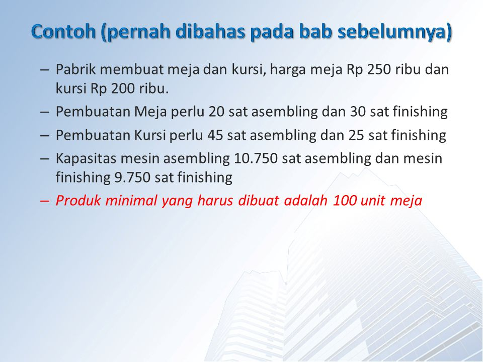– Pabrik membuat meja dan kursi, harga meja Rp 250 ribu dan kursi Rp 200 ribu.