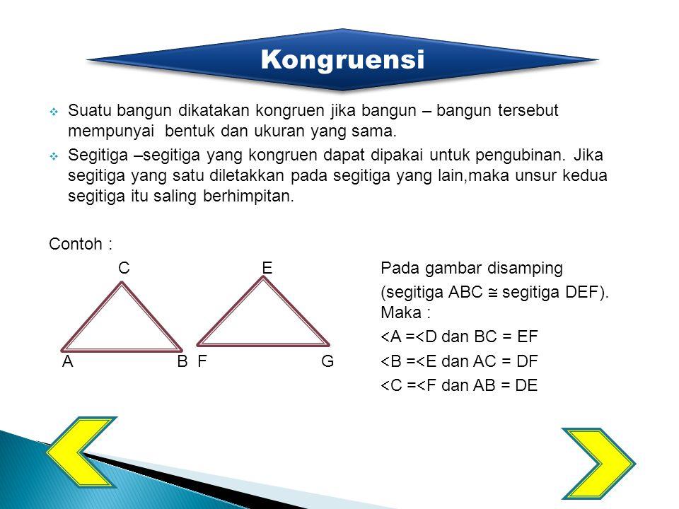  Sifat - sifat segitiga kongruensi: 1.Sisi yang bersesuaian sama panjang 2.