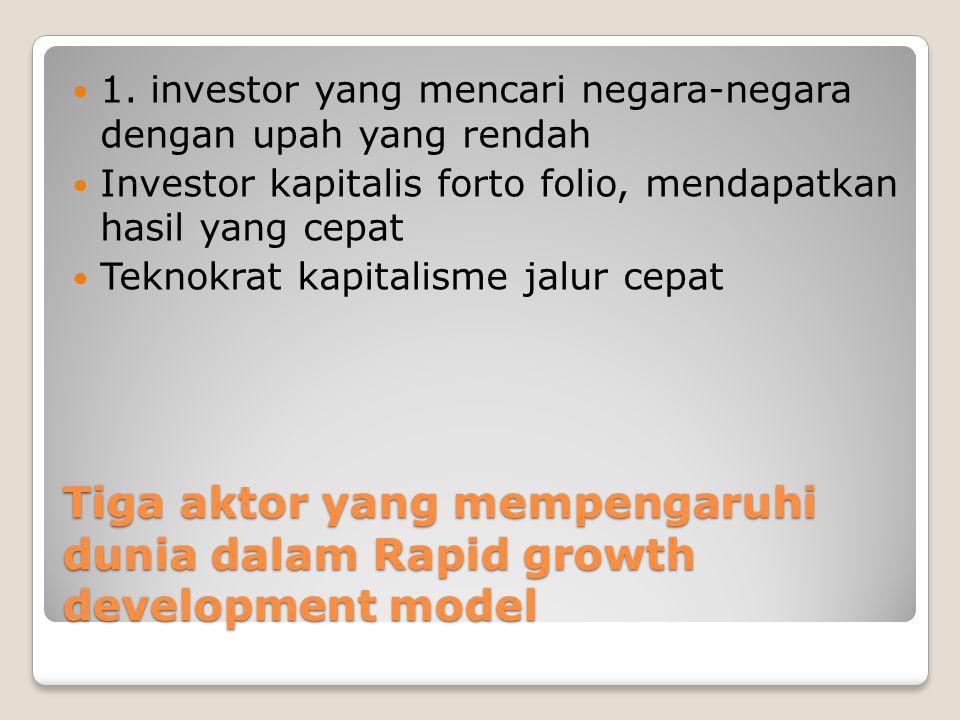 Tiga aktor yang mempengaruhi dunia dalam Rapid growth development model 1. investor yang mencari negara-negara dengan upah yang rendah Investor kapita