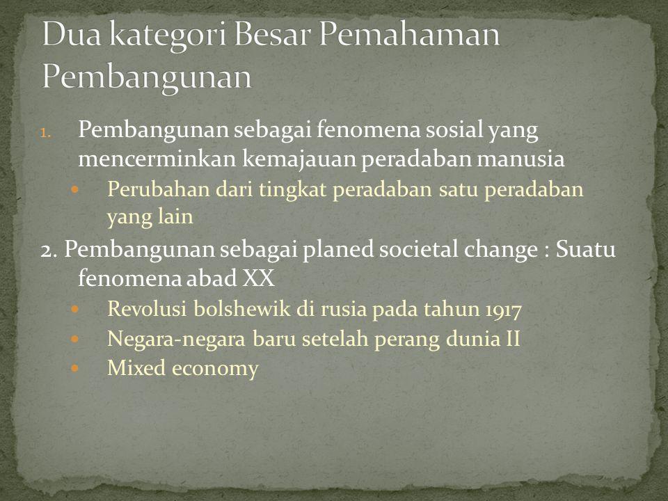 1. Pembangunan sebagai fenomena sosial yang mencerminkan kemajauan peradaban manusia Perubahan dari tingkat peradaban satu peradaban yang lain 2. Pemb