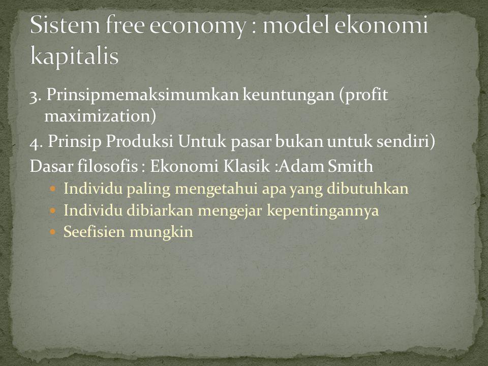 3. Prinsipmemaksimumkan keuntungan (profit maximization) 4. Prinsip Produksi Untuk pasar bukan untuk sendiri) Dasar filosofis : Ekonomi Klasik :Adam S