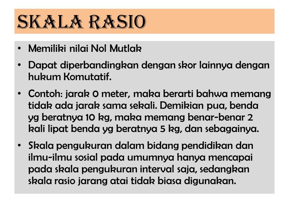 SKALA RASIO Memiliki nilai Nol Mutlak Dapat diperbandingkan dengan skor lainnya dengan hukum Komutatif. Contoh: jarak 0 meter, maka berarti bahwa mema