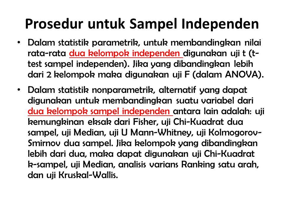 Prosedur untuk Sampel Independen Dalam statistik parametrik, untuk membandingkan nilai rata-rata dua kelompok independen digunakan uji t (t- test samp