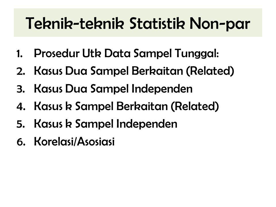 Teknik-teknik Statistik Non-par 1.Prosedur Utk Data Sampel Tunggal: 2.Kasus Dua Sampel Berkaitan (Related) 3.Kasus Dua Sampel Independen 4.Kasus k Sam