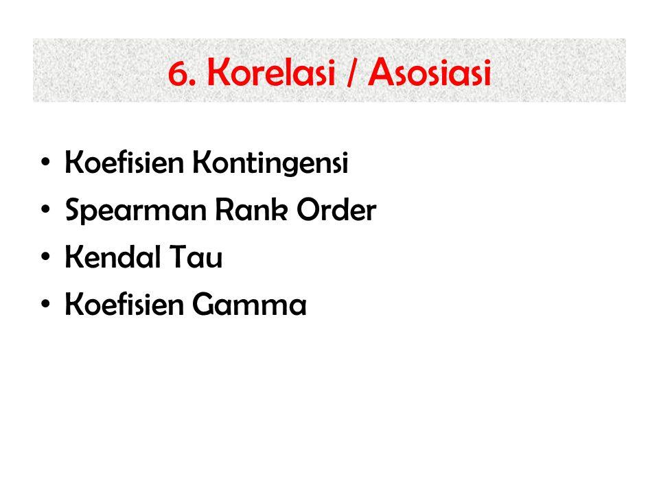 6. Korelasi / Asosiasi Koefisien Kontingensi Spearman Rank Order Kendal Tau Koefisien Gamma