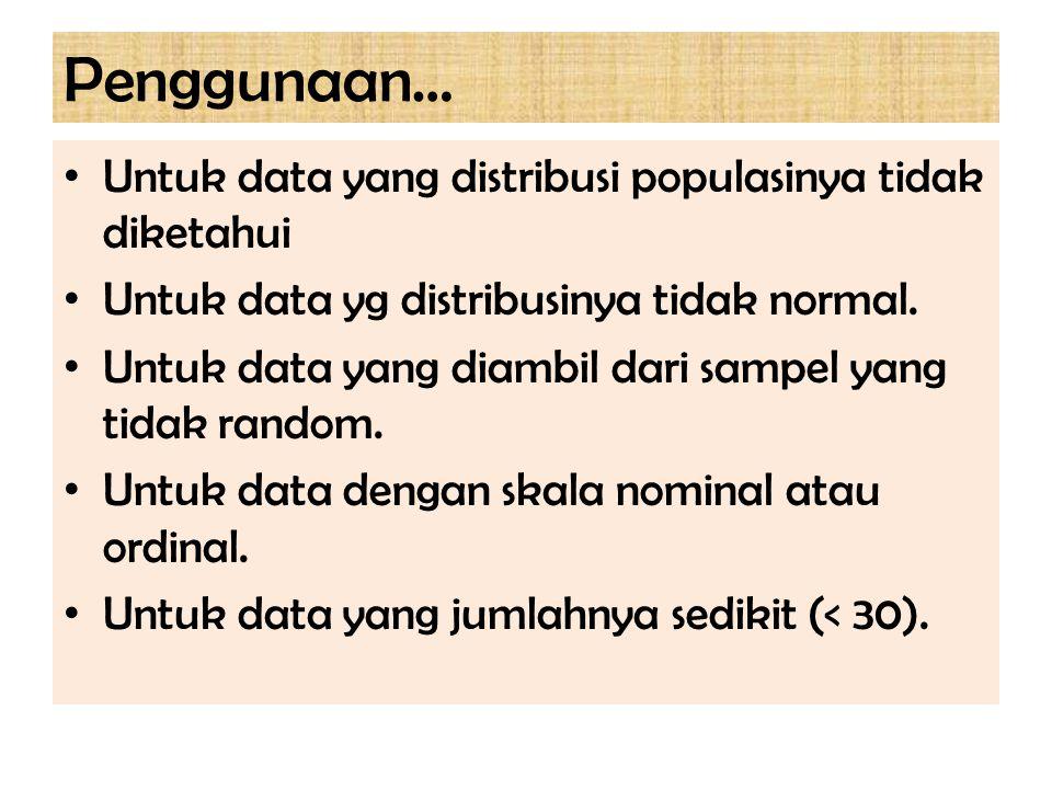 Penggunaan… Untuk data yang distribusi populasinya tidak diketahui Untuk data yg distribusinya tidak normal. Untuk data yang diambil dari sampel yang