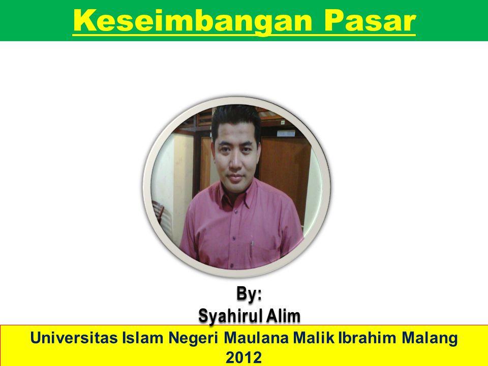 Keseimbangan Pasar Universitas Islam Negeri Maulana Malik Ibrahim Malang 2012 By: Syahirul Alim
