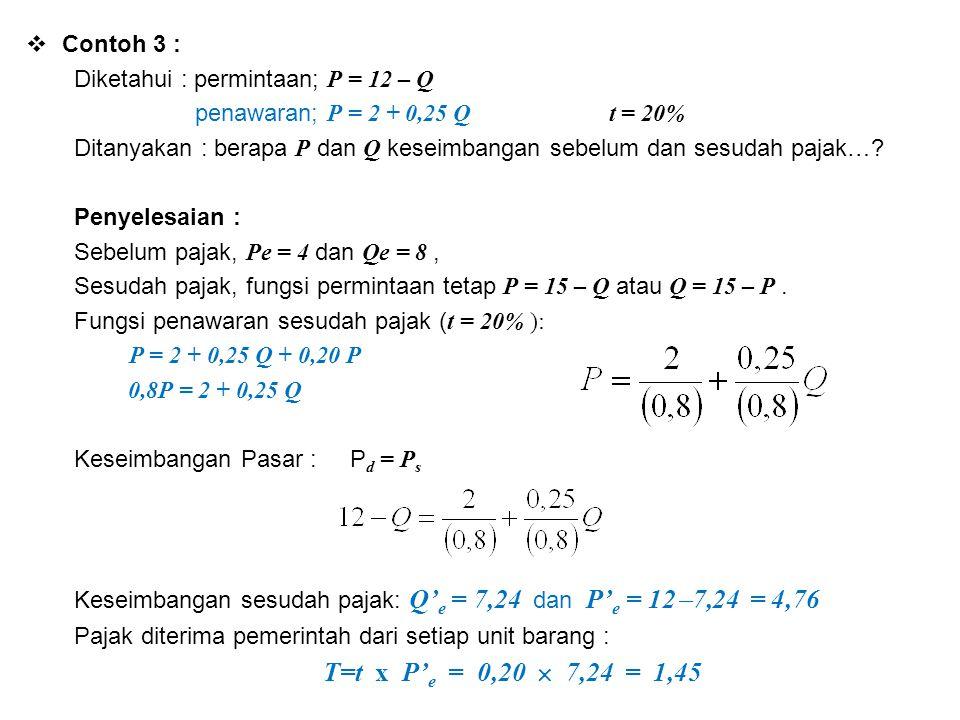  Contoh 3 : Diketahui : permintaan; P = 12 – Q penawaran; P = 2 + 0,25 Q t = 20% Ditanyakan : berapa P dan Q keseimbangan sebelum dan sesudah pajak…?