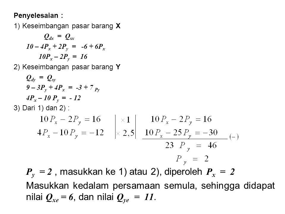 Penyelesaian : 1)Keseimbangan pasar barang X Q dx = Q sx 10 – 4P x + 2P y = -6 + 6P x 10P x – 2P y = 16 2)Keseimbangan pasar barang Y Q dy = Q sy 9 –