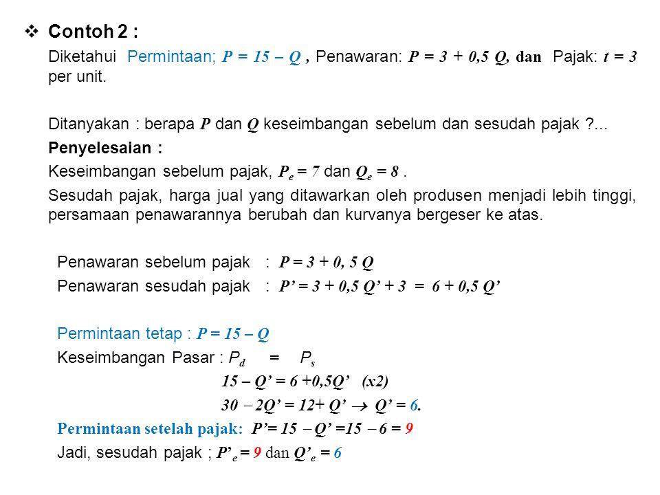  Contoh 2 : Diketahui Permintaan; P = 15 – Q, Penawaran: P = 3 + 0,5 Q, dan Pajak: t = 3 per unit. Ditanyakan : berapa P dan Q keseimbangan sebelum d