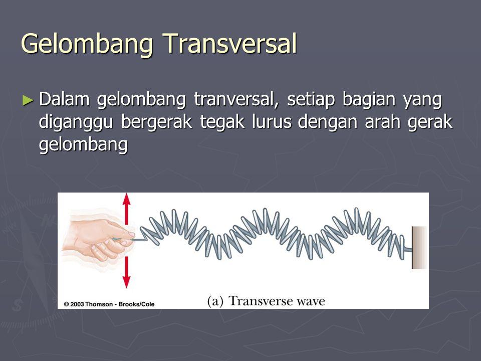 Gelombang Transversal ► Dalam gelombang tranversal, setiap bagian yang diganggu bergerak tegak lurus dengan arah gerak gelombang