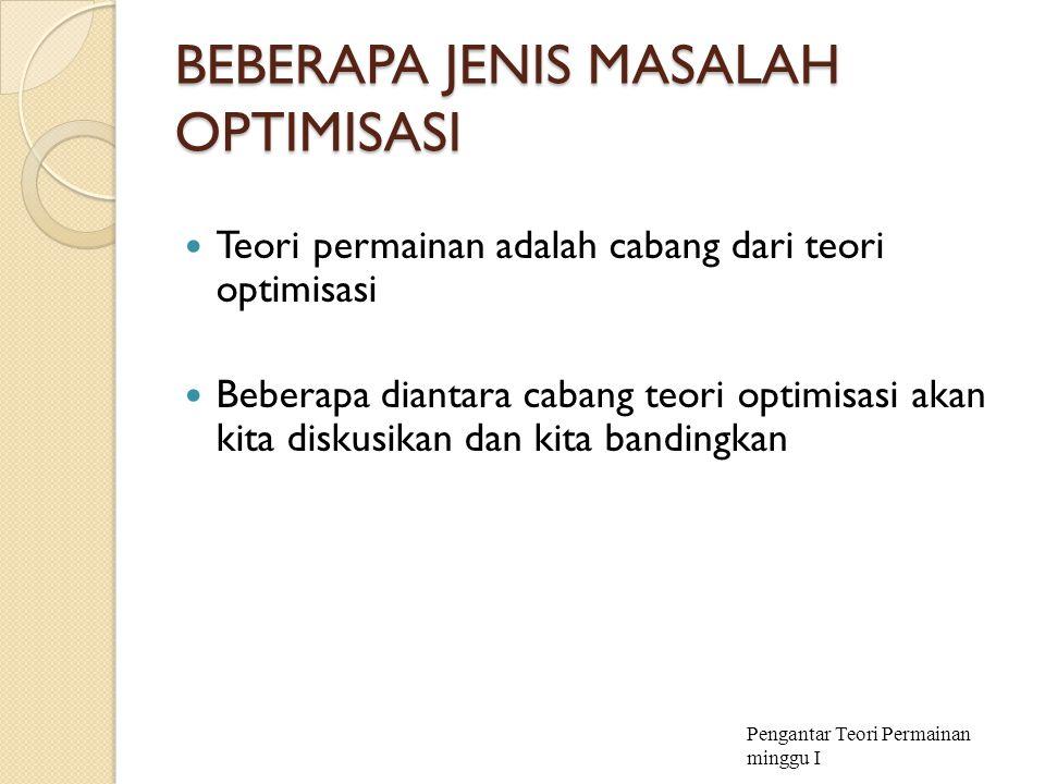 BEBERAPA JENIS MASALAH OPTIMISASI Teori permainan adalah cabang dari teori optimisasi Beberapa diantara cabang teori optimisasi akan kita diskusikan d