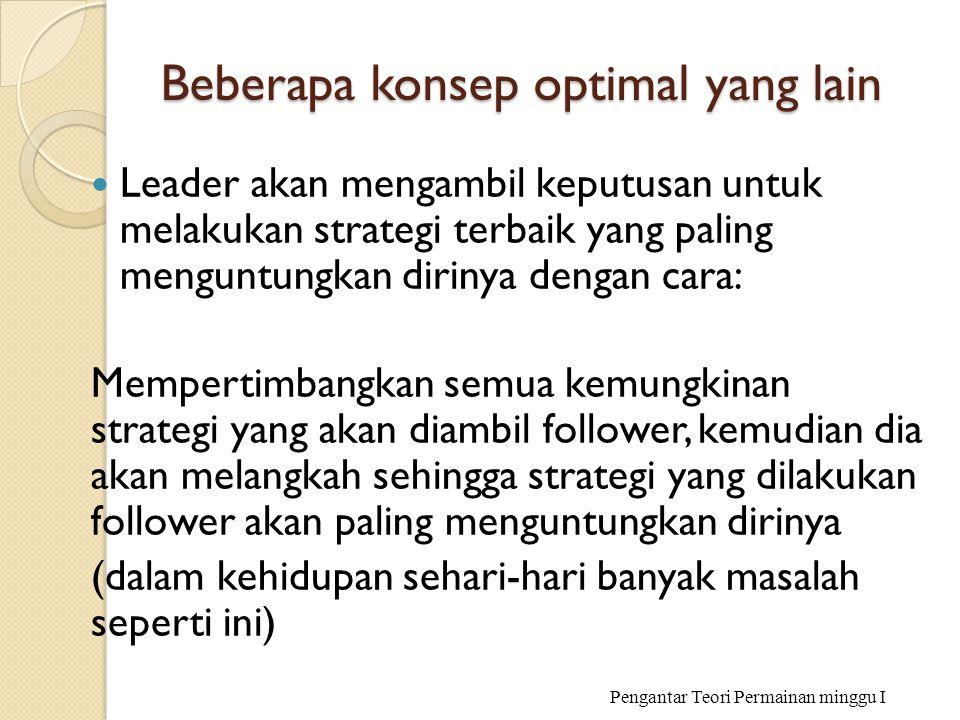 Beberapa konsep optimal yang lain Leader akan mengambil keputusan untuk melakukan strategi terbaik yang paling menguntungkan dirinya dengan cara: Memp