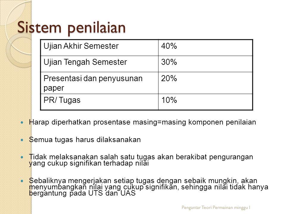 Sistem penilaian Harap diperhatkan prosentase masing=masing komponen penilaian Semua tugas harus dilaksanakan Tidak melaksanakan salah satu tugas akan