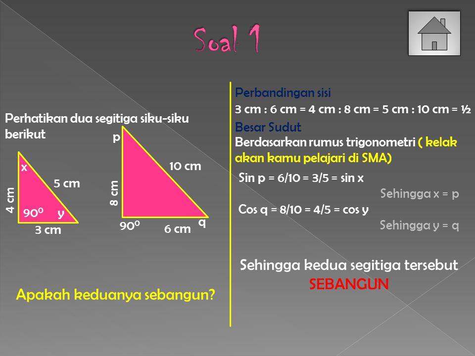 A C B D F E 5 cm 12 cm 13 cm 5 cm Buktikan segitiga ABC kongruen dengan segitiga DEF.