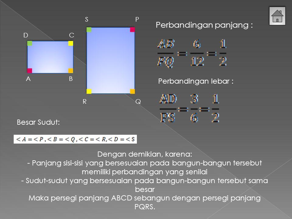 A DC B P QR S Perbandingan panjang : Perbandingan lebar : Besar Sudut: Dengan demikian, karena: - Panjang sisi-sisi yang bersesuaian pada bangun-bangun tersebut memiliki perbandingan yang senilai - Sudut-sudut yang bersesuaian pada bangun-bangun tersebut sama besar Maka persegi panjang ABCD sebangun dengan persegi panjang PQRS.