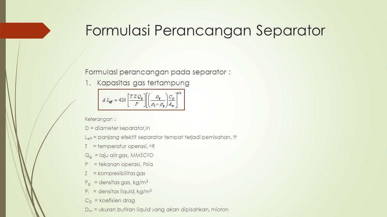 Formulasi Perancangan Separator Formulasi perancangan pada separator : 1. Kapasitas gas tertampung Keterangan : D = diameter separator,in L eff = panj