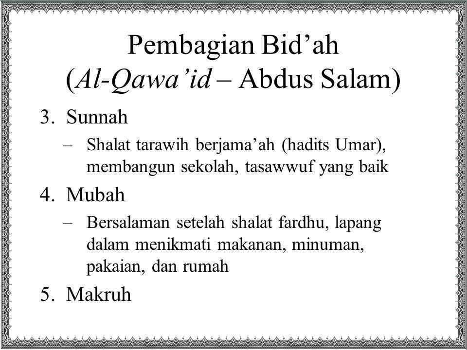 Pembagian Bid'ah (Al-Qawa'id – Abdus Salam) 3.Sunnah –Shalat tarawih berjama'ah (hadits Umar), membangun sekolah, tasawwuf yang baik 4.Mubah –Bersalam