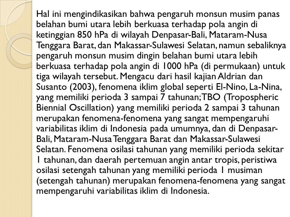 Hal ini mengindikasikan bahwa pengaruh monsun musim panas belahan bumi utara lebih berkuasa terhadap pola angin di ketinggian 850 hPa di wilayah Denpasar-Bali, Mataram-Nusa Tenggara Barat, dan Makassar-Sulawesi Selatan, namun sebaliknya pengaruh monsun musim dingin belahan bumi utara lebih berkuasa terhadap pola angin di 1000 hPa (di permukaan) untuk tiga wilayah tersebut.