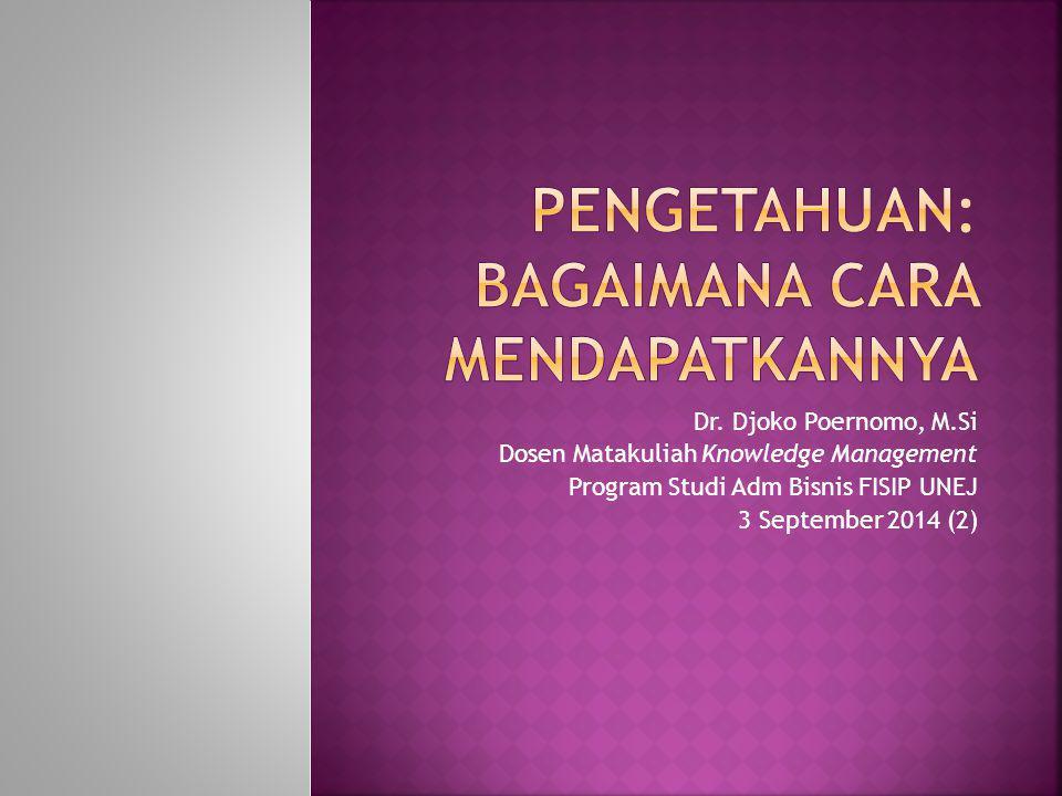 Dr. Djoko Poernomo, M.Si Dosen Matakuliah Knowledge Management Program Studi Adm Bisnis FISIP UNEJ 3 September 2014 (2)