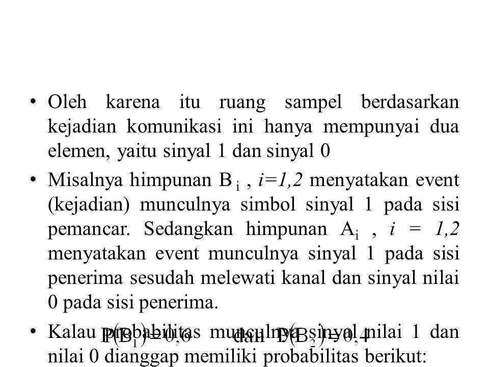 Oleh karena itu ruang sampel berdasarkan kejadian komunikasi ini hanya mempunyai dua elemen, yaitu sinyal 1 dan sinyal 0 Misalnya himpunan B i, i=1,2 menyatakan event (kejadian) munculnya simbol sinyal 1 pada sisi pemancar.