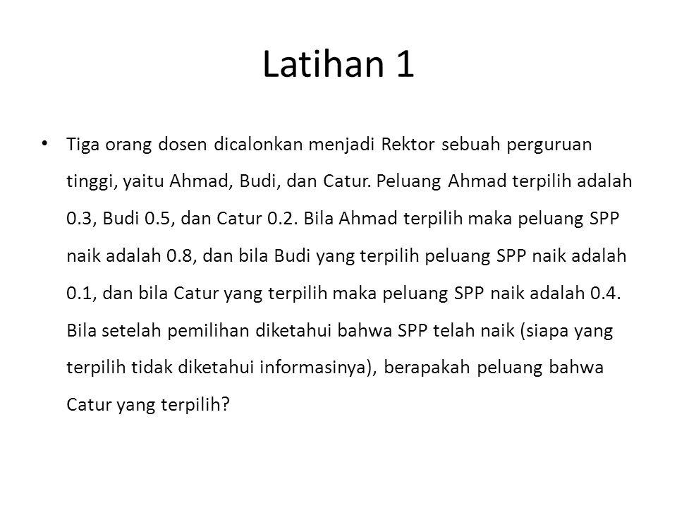 Latihan 1 Tiga orang dosen dicalonkan menjadi Rektor sebuah perguruan tinggi, yaitu Ahmad, Budi, dan Catur.