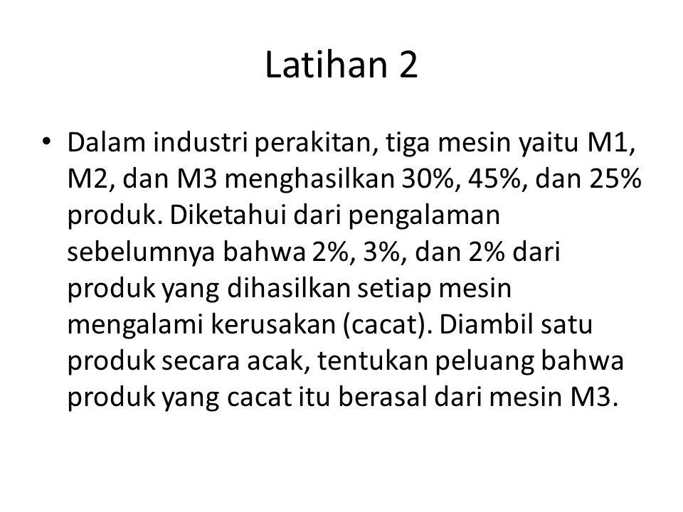 Latihan 2 Dalam industri perakitan, tiga mesin yaitu M1, M2, dan M3 menghasilkan 30%, 45%, dan 25% produk.