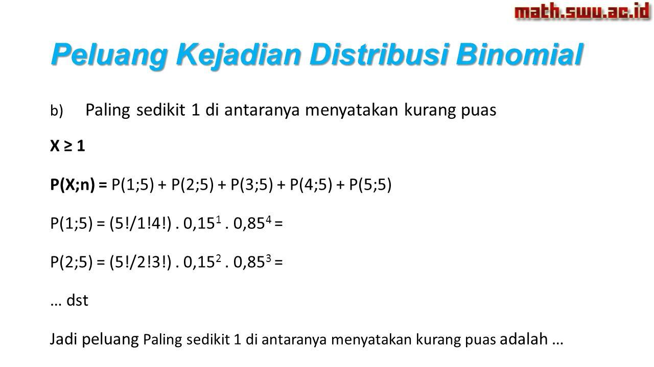 Peluang Kejadian Distribusi Binomial b) Paling sedikit 1 di antaranya menyatakan kurang puas X ≥ 1 P(X;n) = P(1;5) + P(2;5) + P(3;5) + P(4;5) + P(5;5)