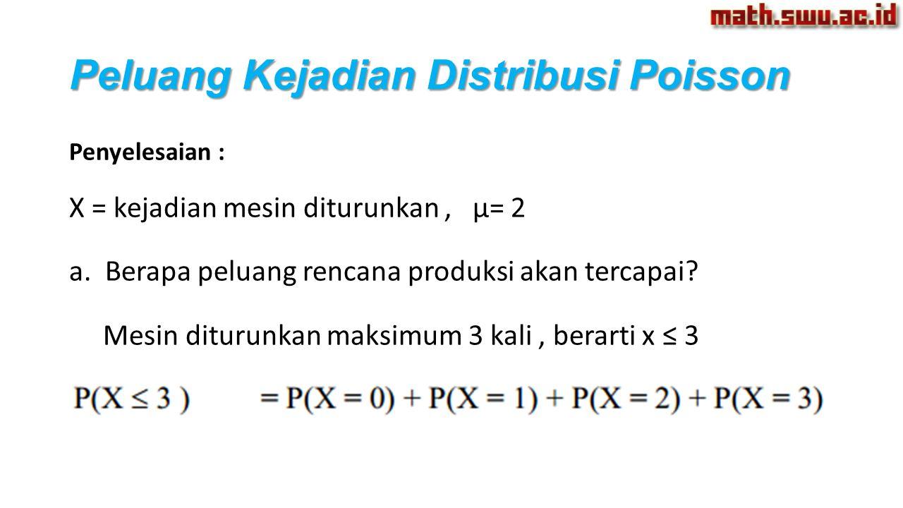 Peluang Kejadian Distribusi Poisson Penyelesaian : X = kejadian mesin diturunkan, µ= 2 a. Berapa peluang rencana produksi akan tercapai? Mesin diturun