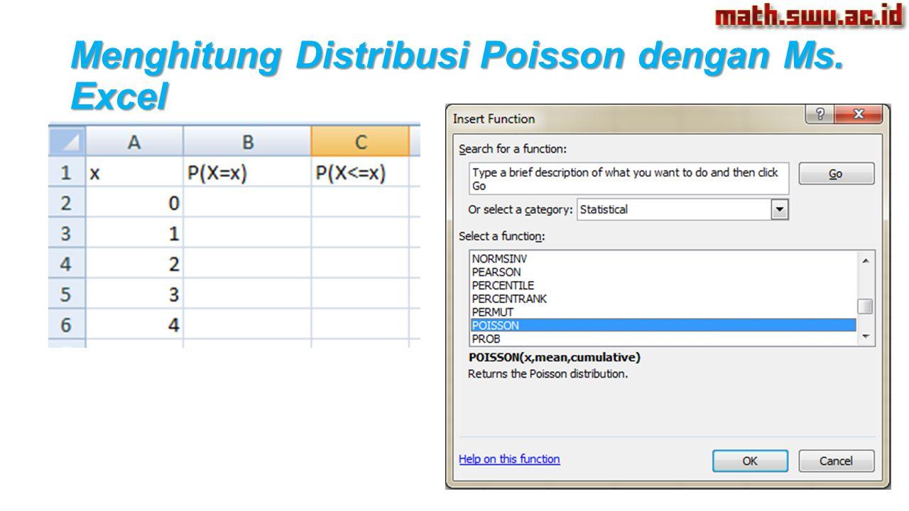 Menghitung Distribusi Poisson dengan Ms. Excel