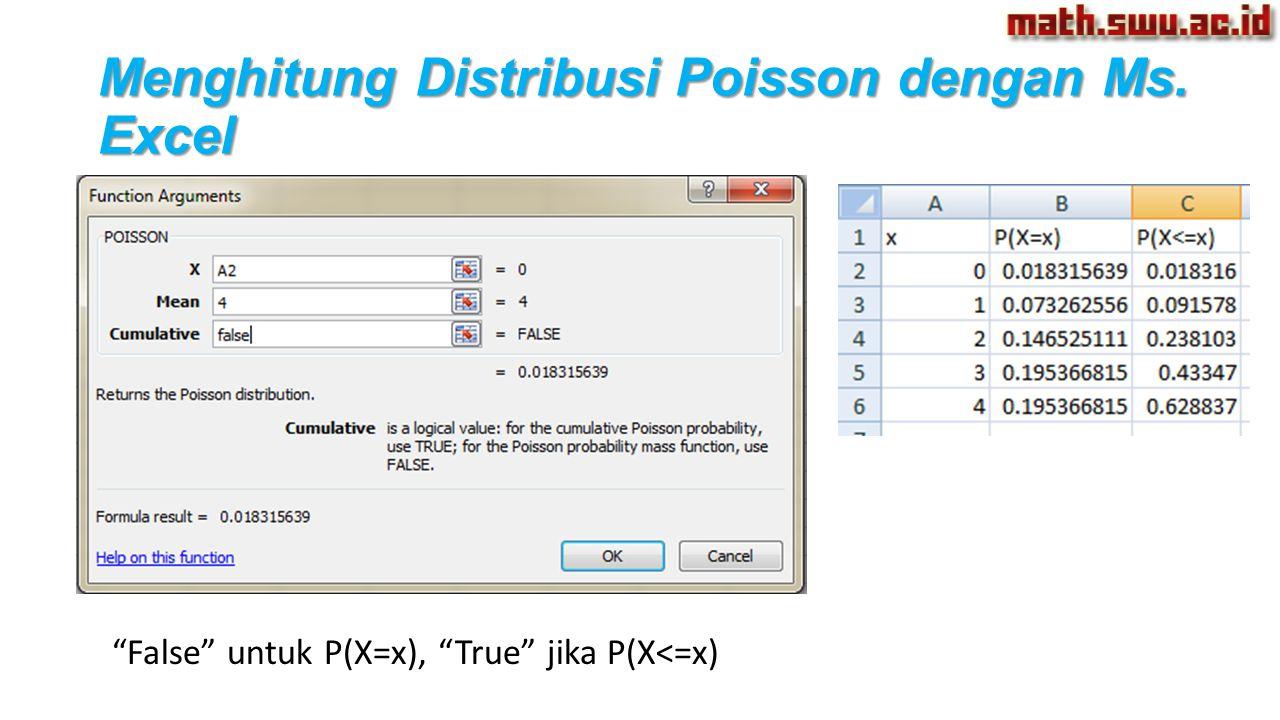"""""""False"""" untuk P(X=x), """"True"""" jika P(X<=x)"""