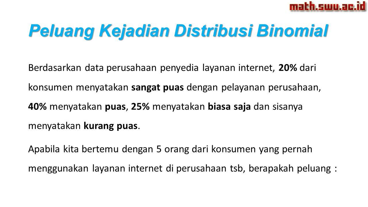 Berdasarkan data perusahaan penyedia layanan internet, 20% dari konsumen menyatakan sangat puas dengan pelayanan perusahaan, 40% menyatakan puas, 25%