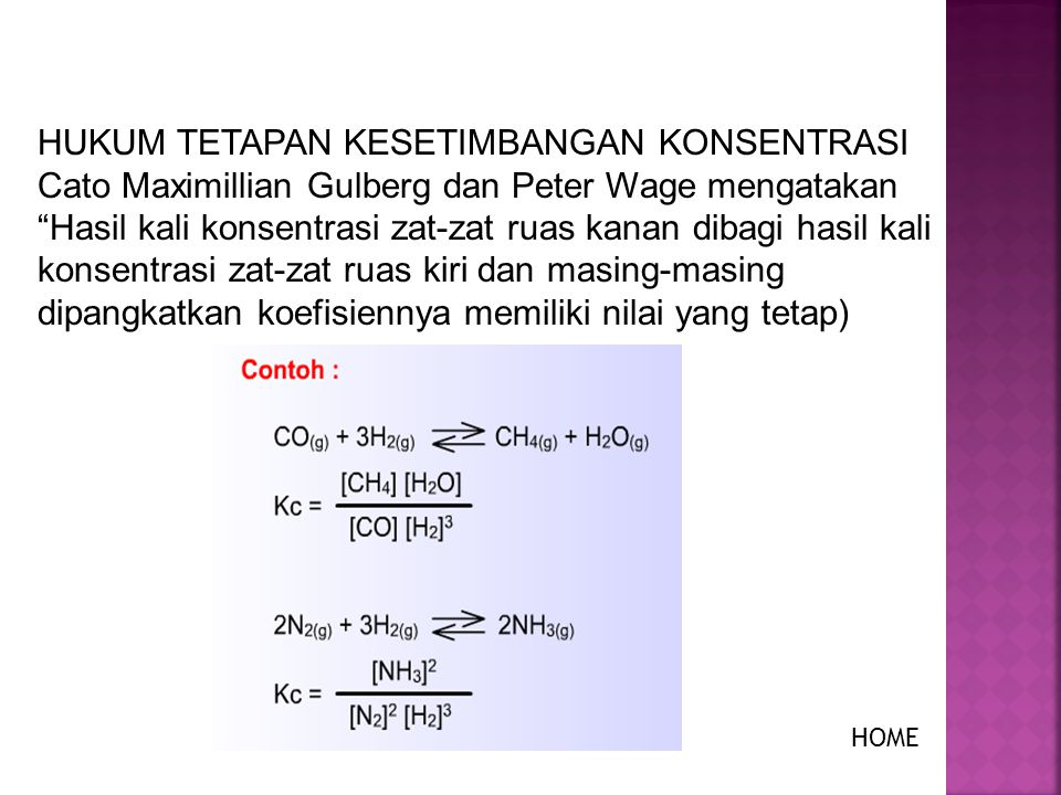 Reaksi : CO(g) + 3H 2 (g)  CH 4 (g) + H 2 O(g) HOME