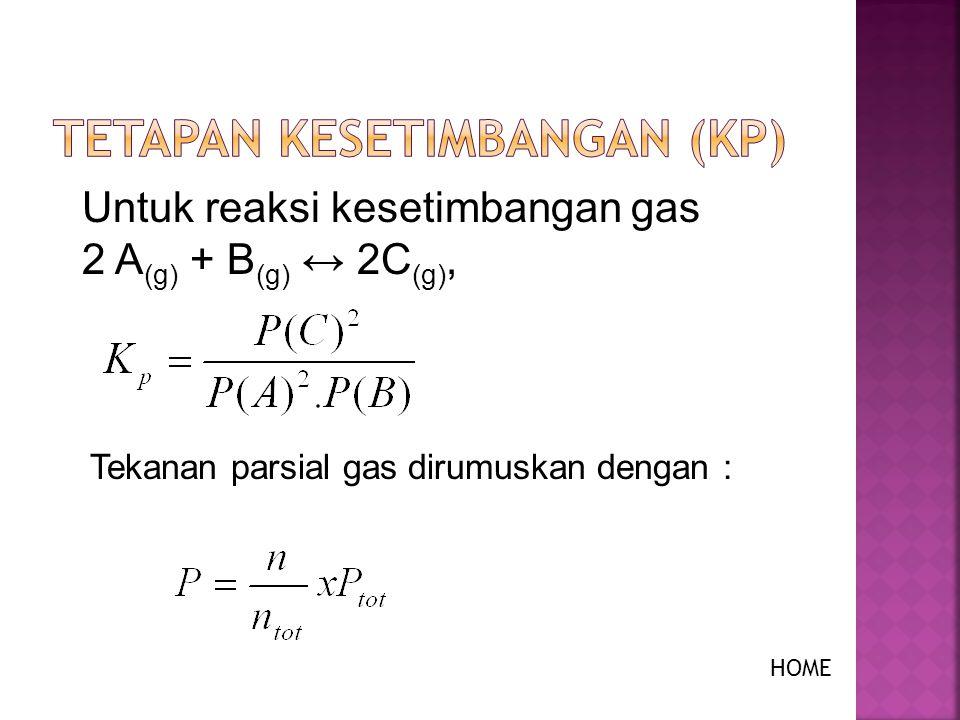 Pada sistem kesetimbangan gas berlaku hal-hal sebagai berikut : n tot = n 1 + n 2 + n 3 + … n tot = jumlah mol total gas dalam sistem n 1, n 2 dst = jumlah mol masing-masing gas dalam sistem P tot = P 1 + P 2 + P 3 P tot = tekanan total gas dalam sistem P 1, P 2 dst = tekanan masing-masing gas dalam sistem (tekanan parsial) HOME